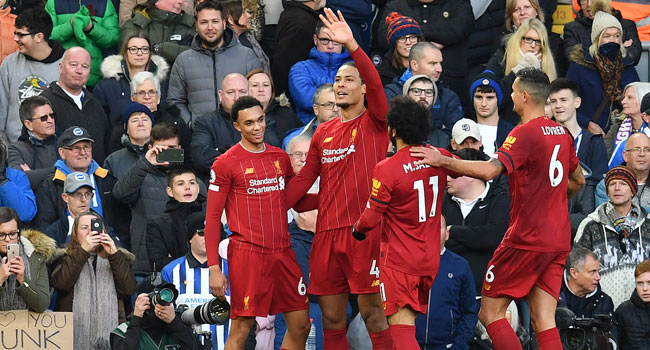 Virgil Van Dijk Strikes Celebrates His Goal As 10 Man Liverpool Trash Brighton.