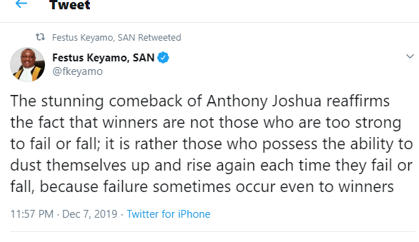 Stunning comeback of Anthony Joshua proves that winners are not the agile – Festus Keyamo.