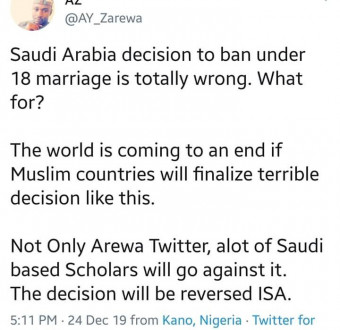 Bunch of Hypocrites: Arewa shade Saudi Arabia for banning early marriages.
