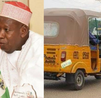 Ganduje stops women and men boarding same tricycle in kano.