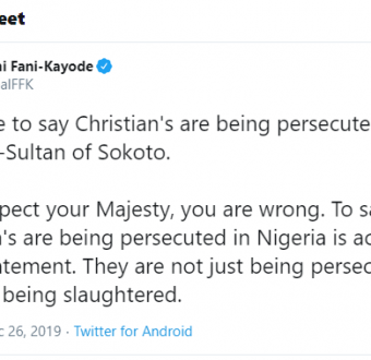 Christians, not only persecuted but slaughtered as well – FFK tells sokoto sultan.