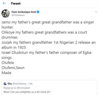 See what Femi Kuti said to Twitter users on 'Kutis' 7th music generation.