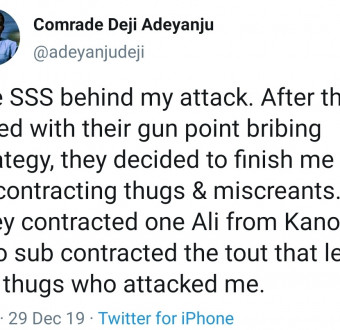 DSS behind my attack – Deji Adeyanju tweets from Dubai
