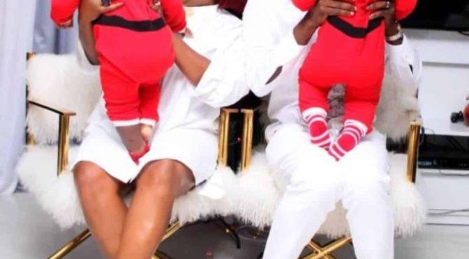 Xmas'19: Fans Shade Funke Akindele (Jenifa) And JJC for hiding their twin's face.