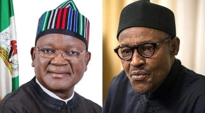 Samuel Ortom Merry With Buhari At 77.